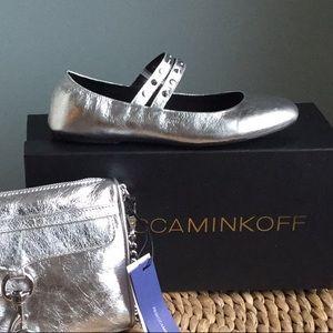 Rebecca Minkoff silver leather flats